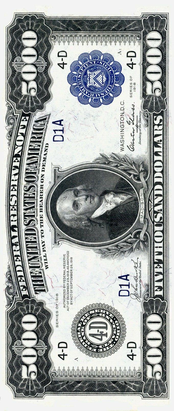 $5000 1918 bill back